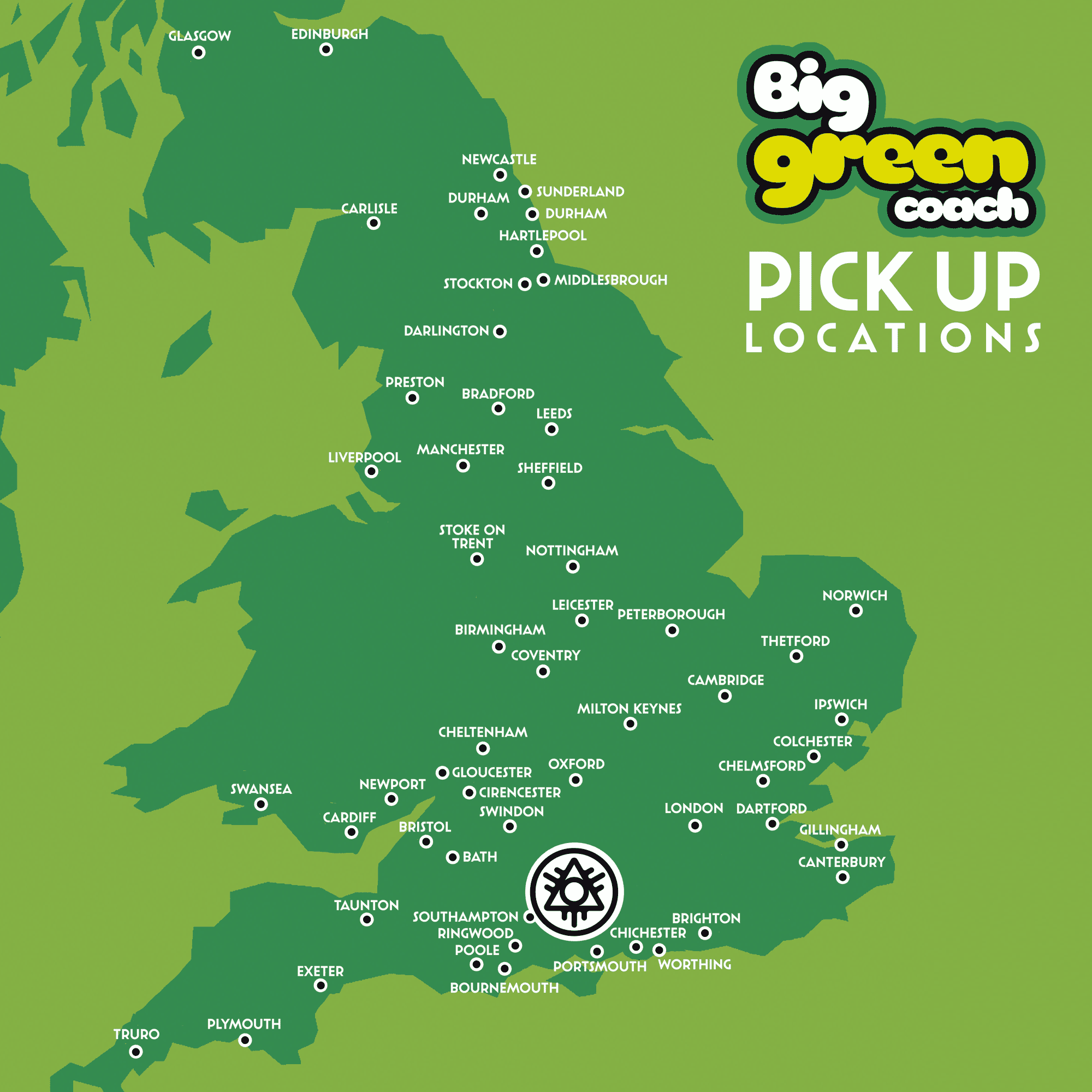Big Green Coach from 55 locations!