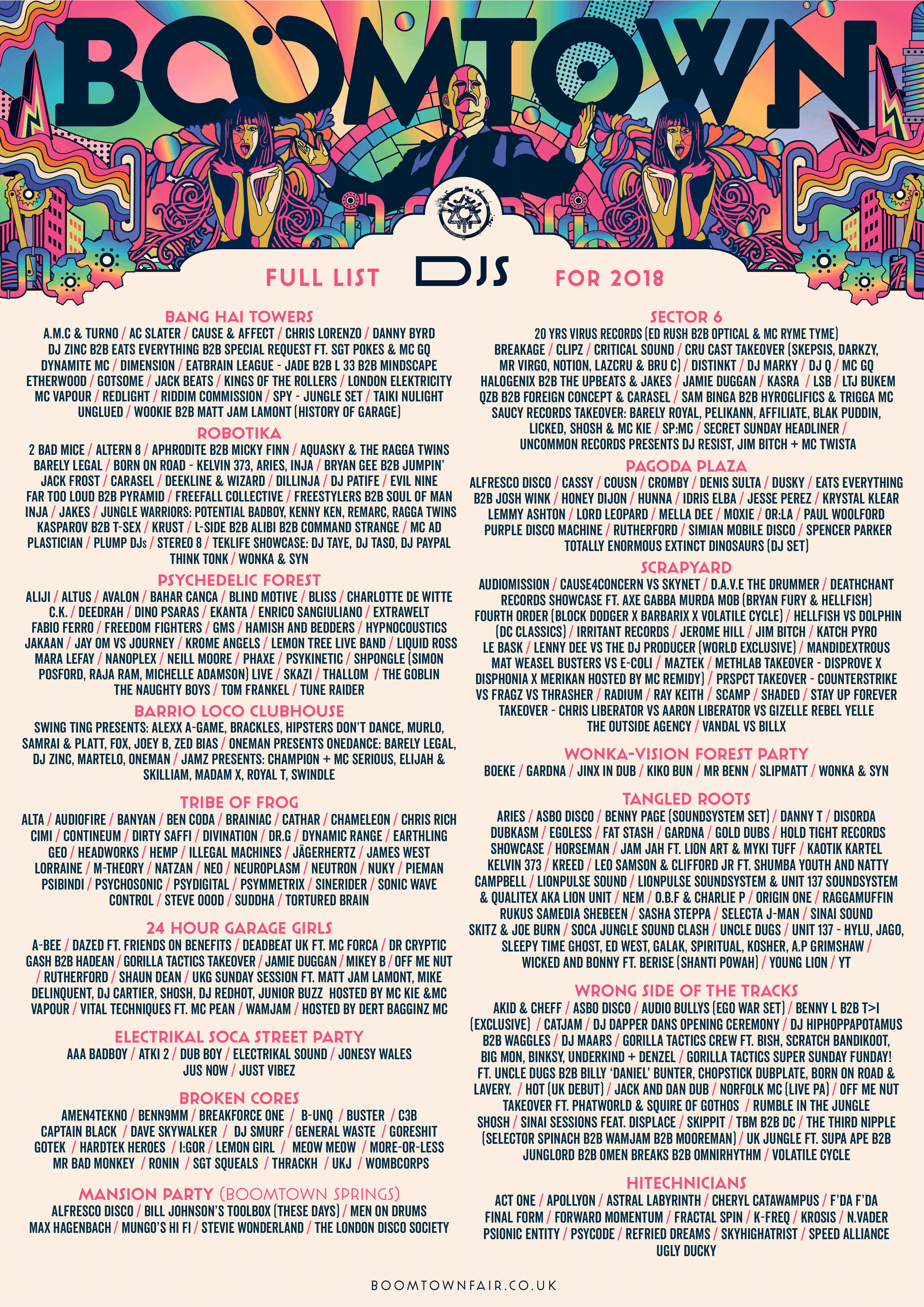 Full Line Up: Bands and DJs | Boomtown Chapter 12 - New