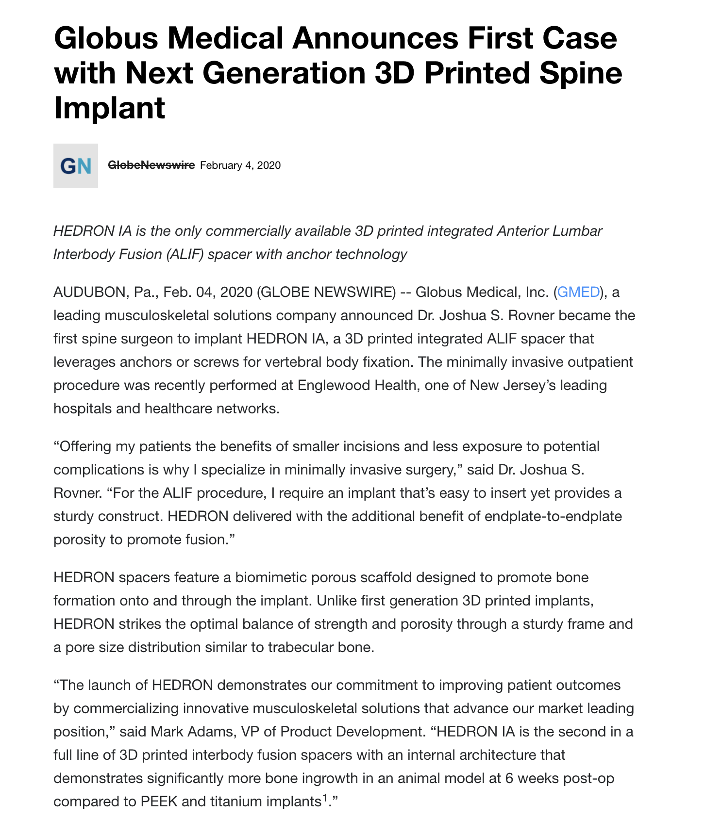 Globus Medical First Case with Next Generation 3D Printed Spine Implant