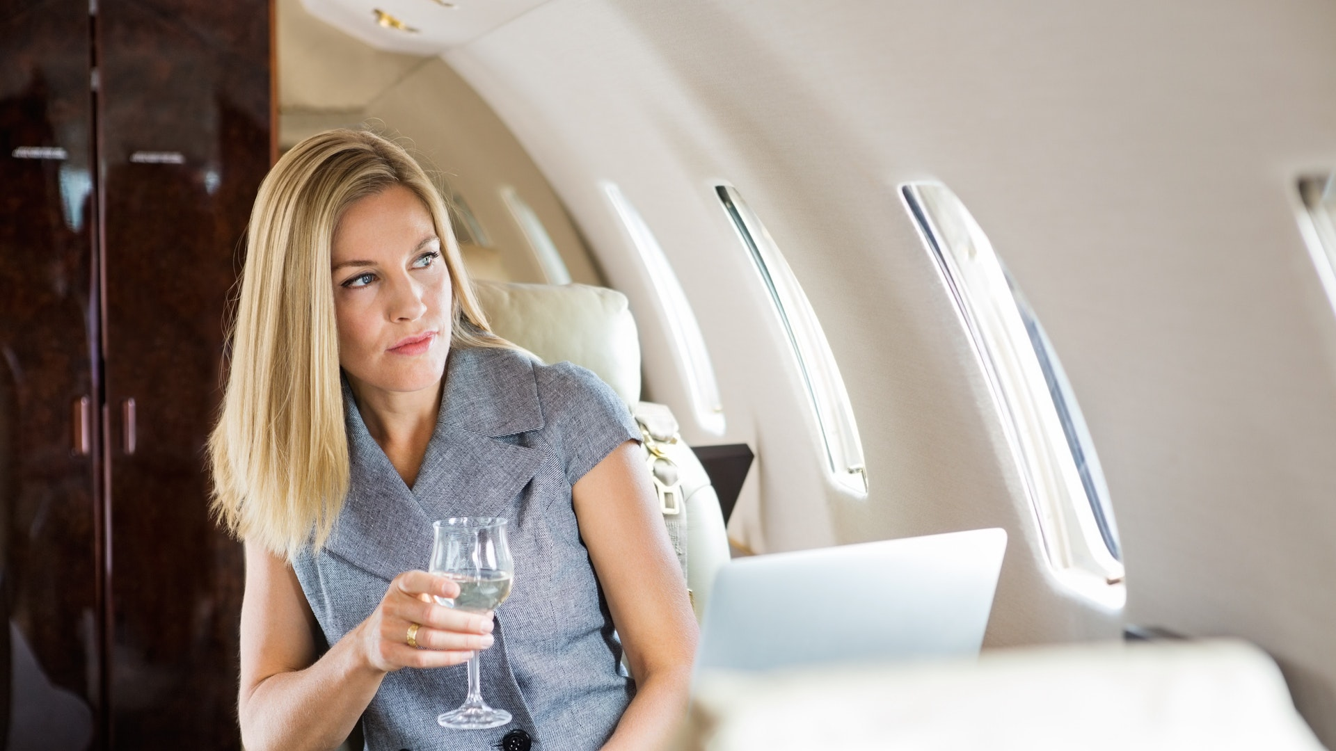 Woman on a business jet