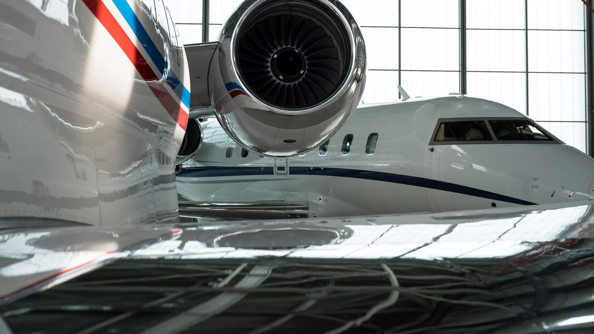 private jets in hangar