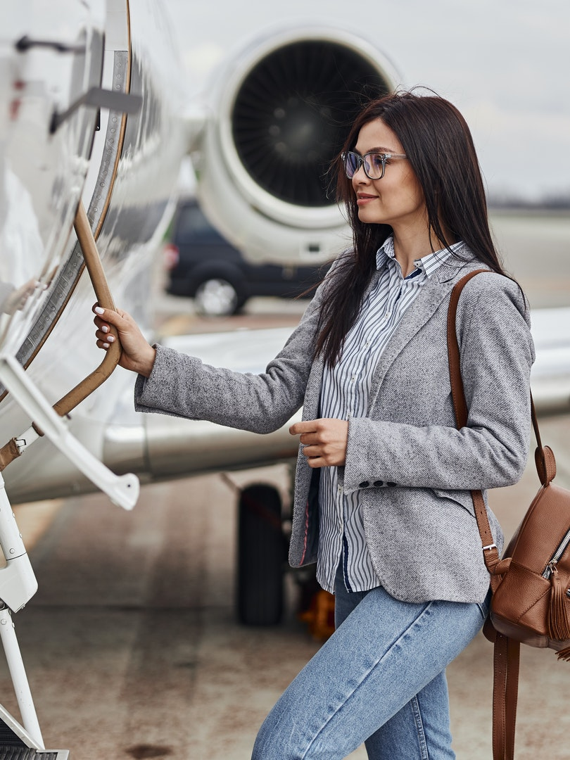 Young Woman Boarding