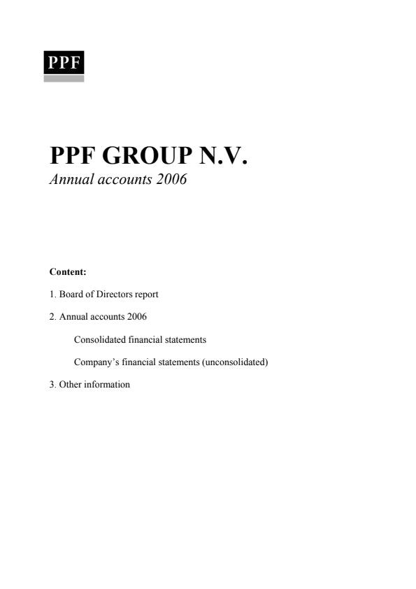 Annual Accounts PPF Group N.V. 2006 (30/5/2006)