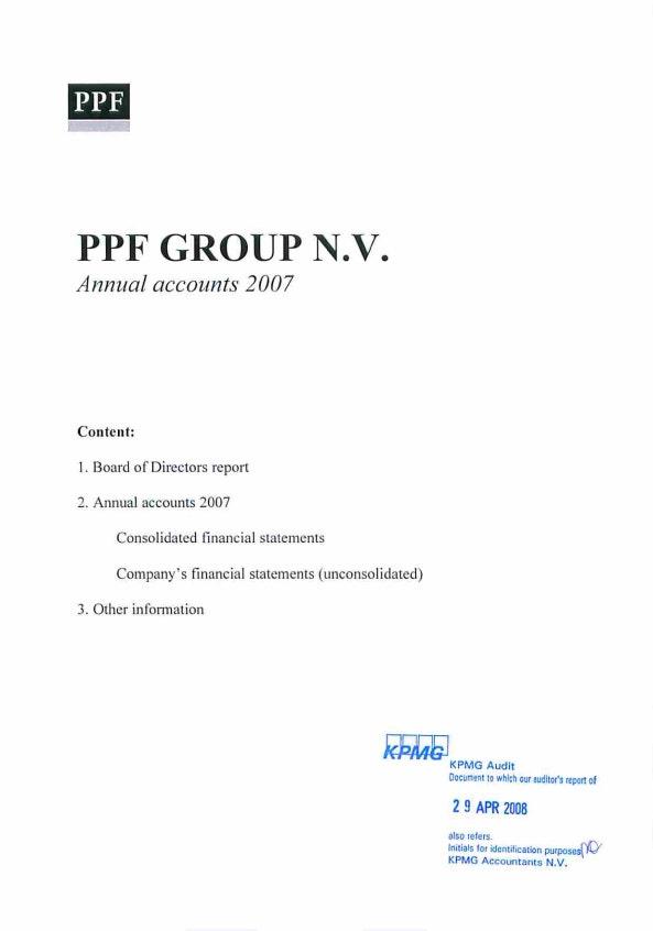 Annual Accounts PPF Group N.V. 2007 (17/6/2007)