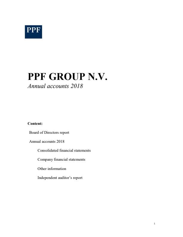 PPF Group N.V. Annual Accounts 2018 (23/5/2018)