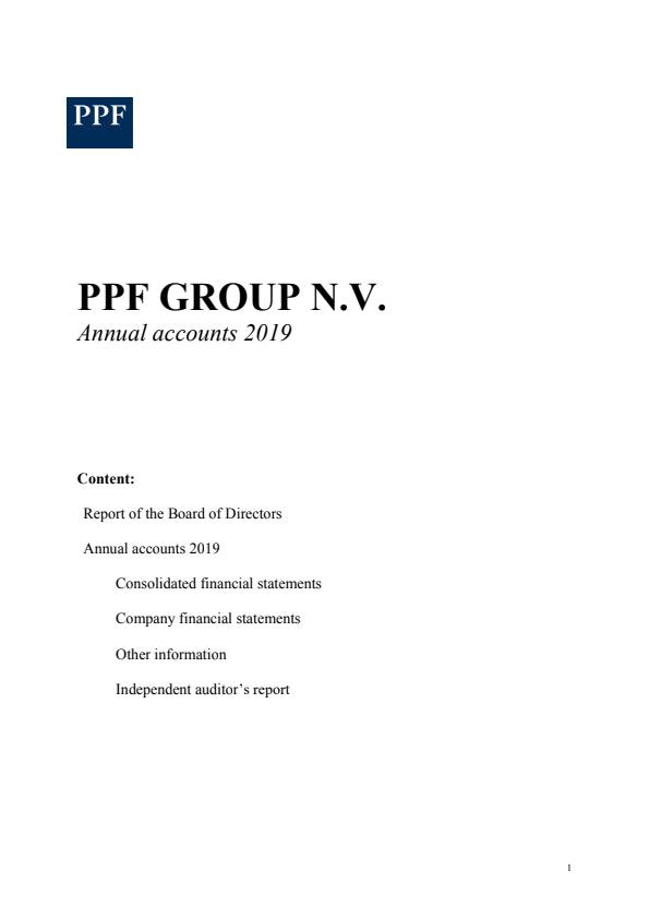 PPF Group N.V. Annual Accounts 2019 (1/6/2019)