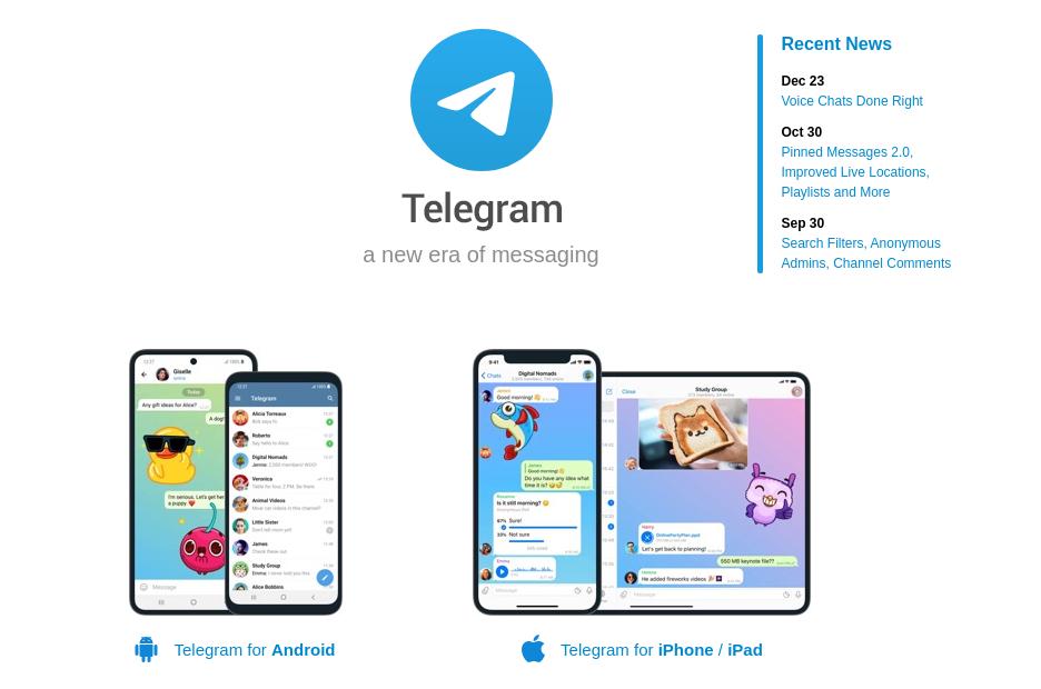 Telegram messenger landing page