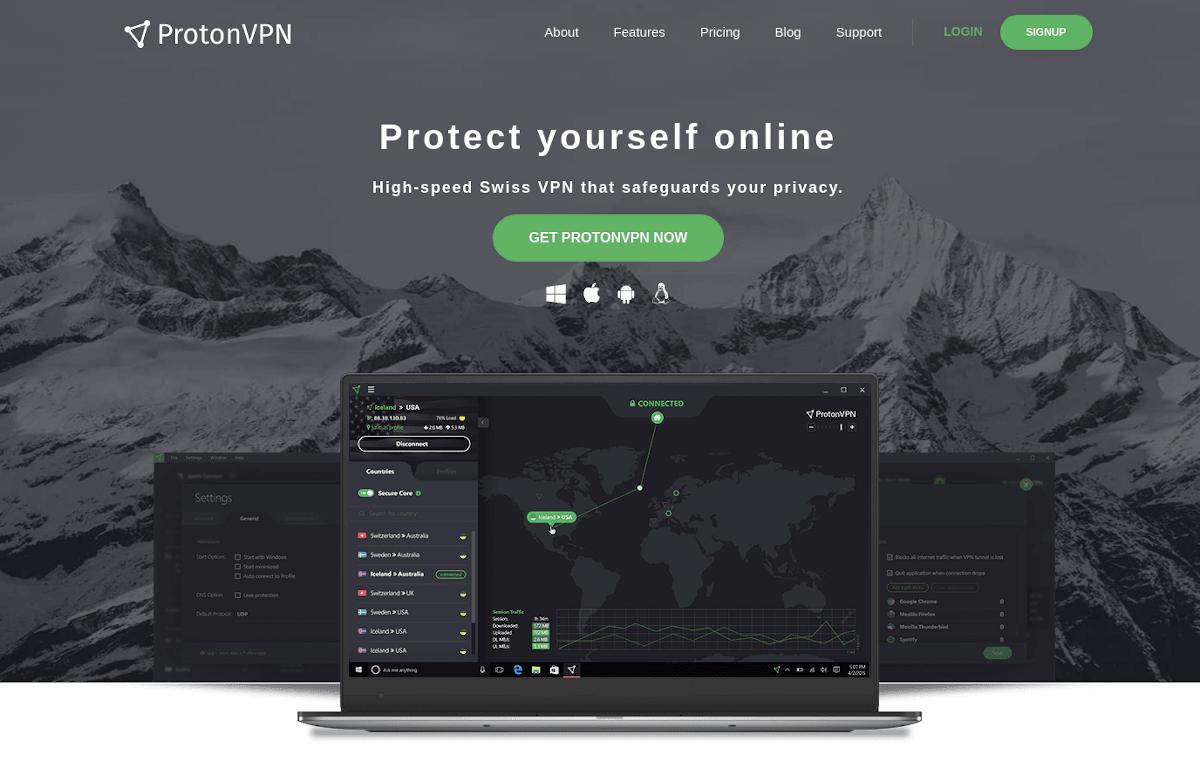 Proton VPN landing page