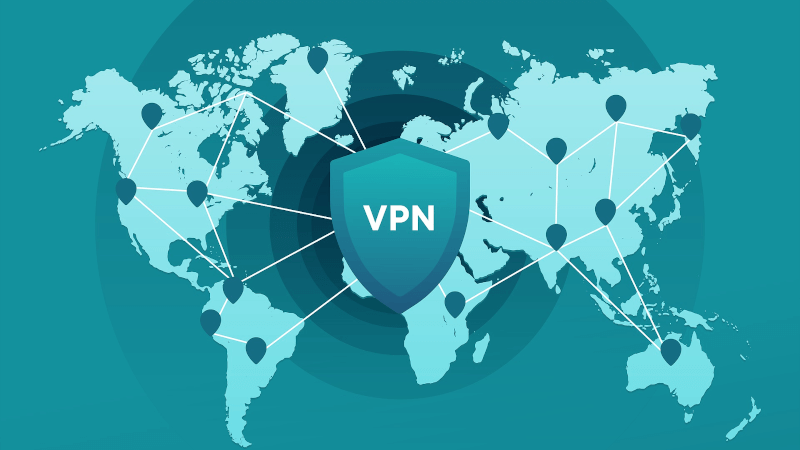 global map with linked nodes and a shield with the letters VPN