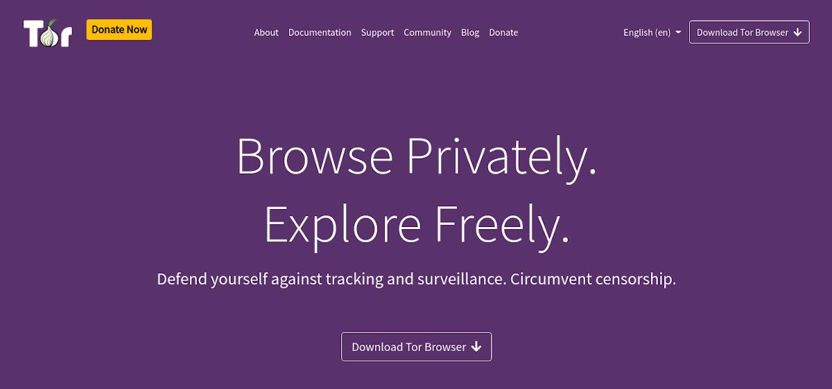 Tor landing page