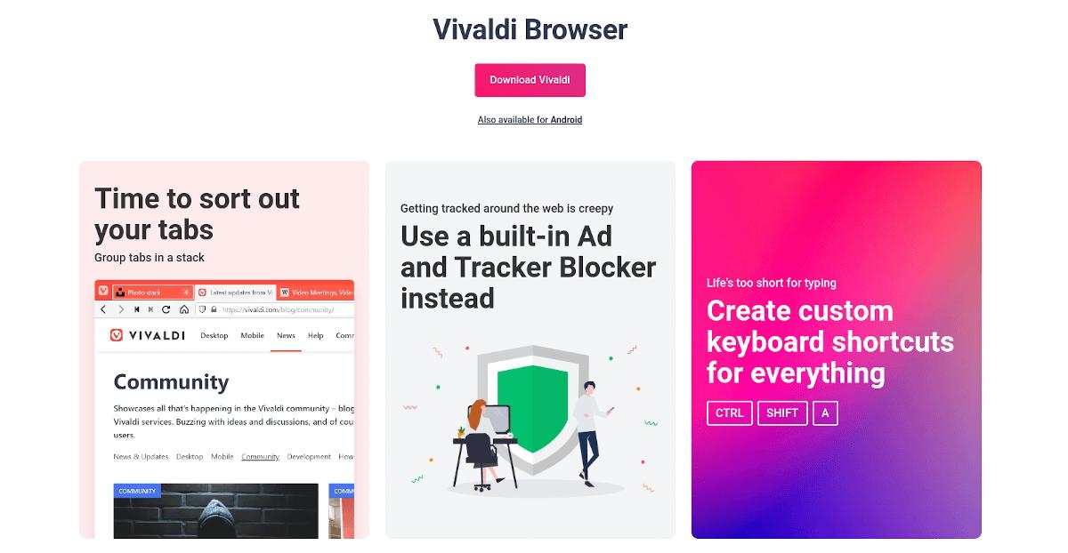 Vivaldi browser landing page