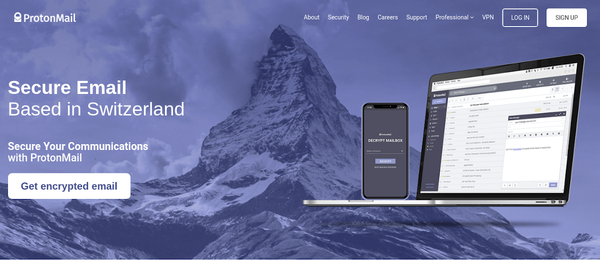Protonmail landing page
