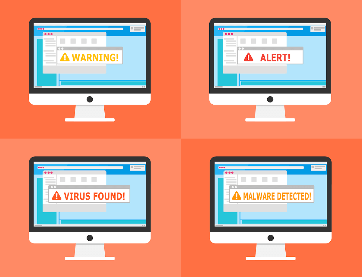 illustrations of monitors with malware popups