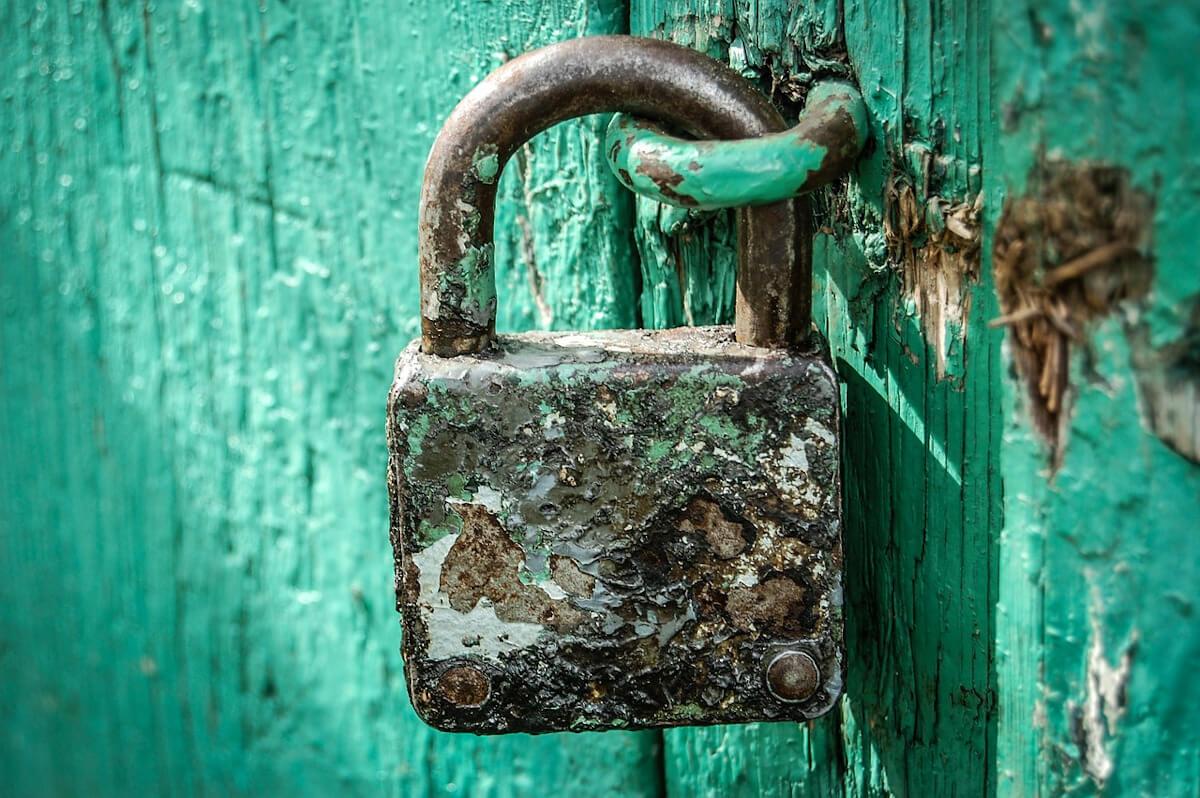 padlock on an rustic door