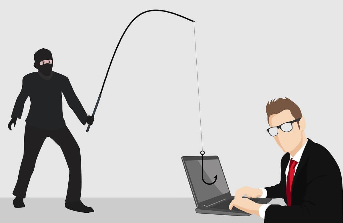 illustraction of robber using fishing rod on computer