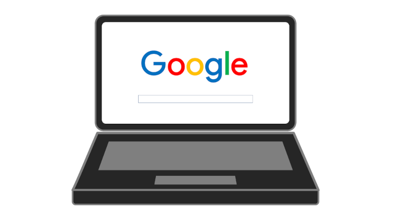 illustration of laptop with Google on screen