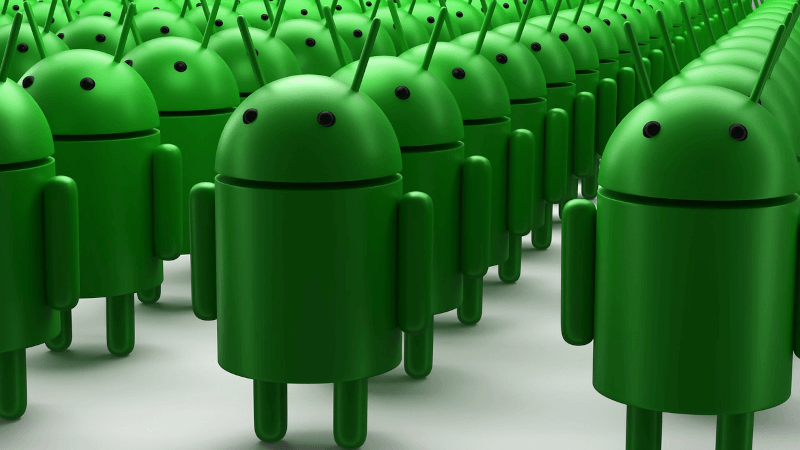 an army of green Android dolls