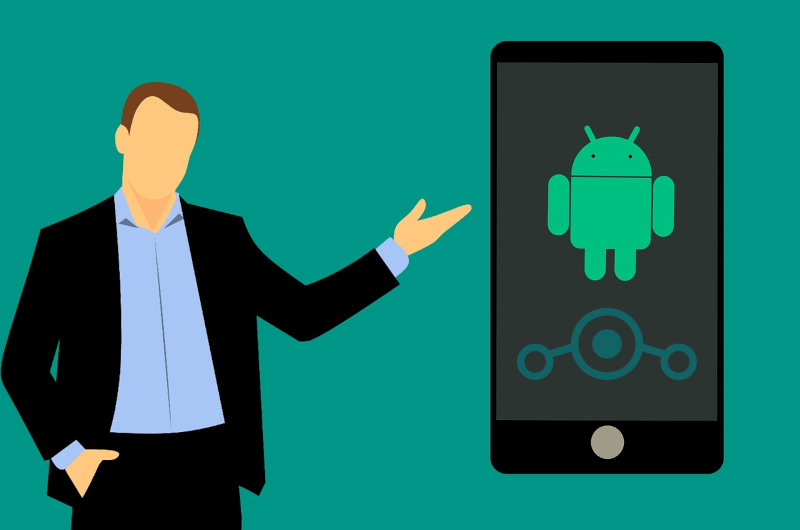 cartoon man displaying phone with android and LineageOS logos in the screen