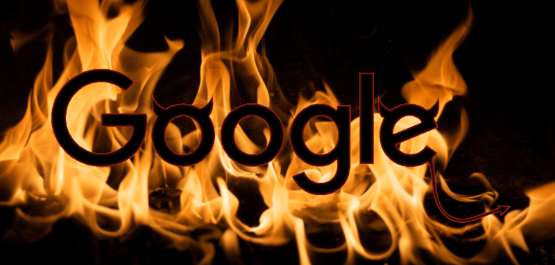 google logo with devil horns in front of flames