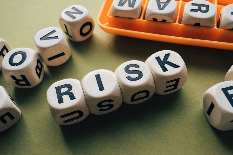 the word 'risk' spelled in blocks