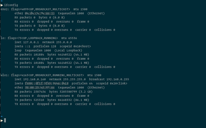 terminal with results of ifconfig command