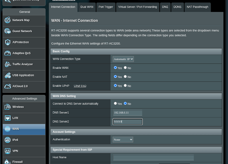 a router web interface with the DNS options opened