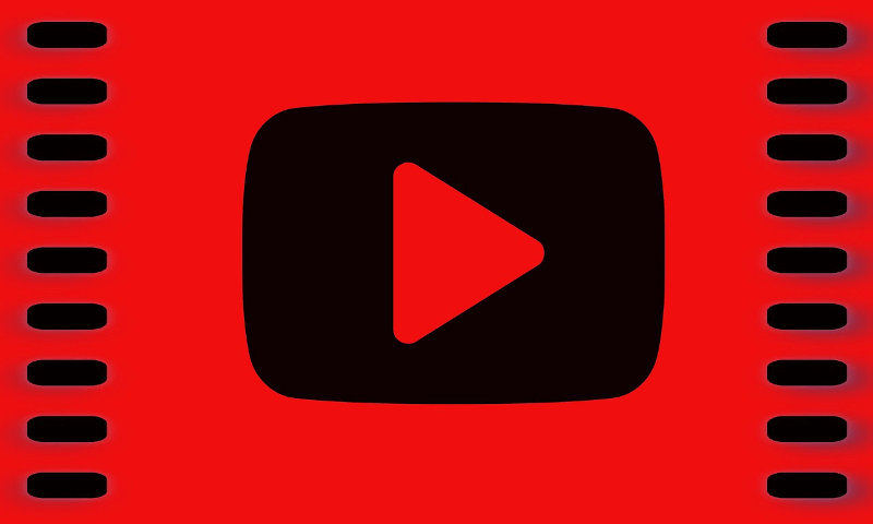 red background with film border and YouTube logo