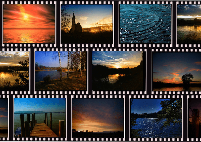 several film strips with different nature videos