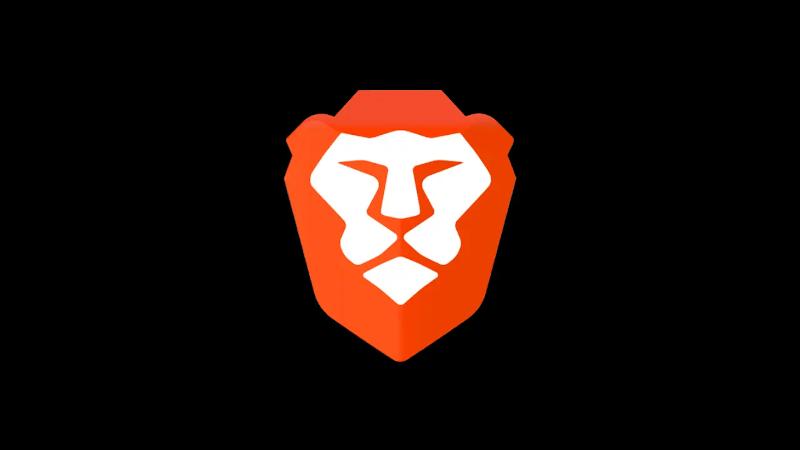 Brave Browser lion head logo on black background
