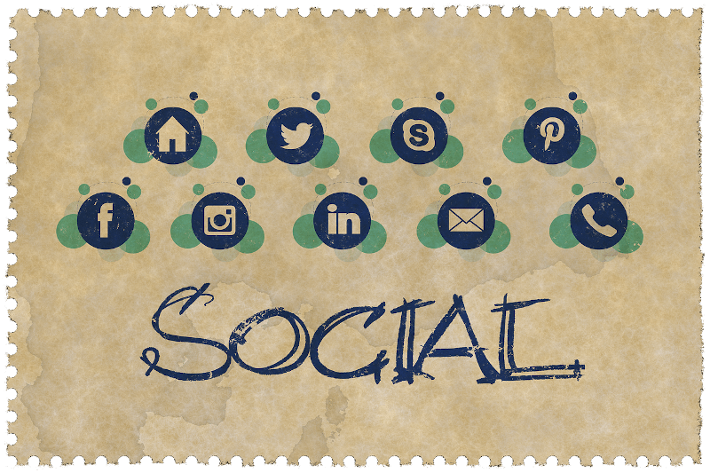 popular social network icons on parchment