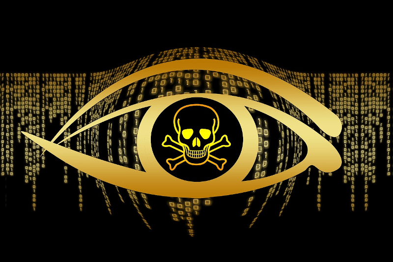 illustration of pirate skull in eye