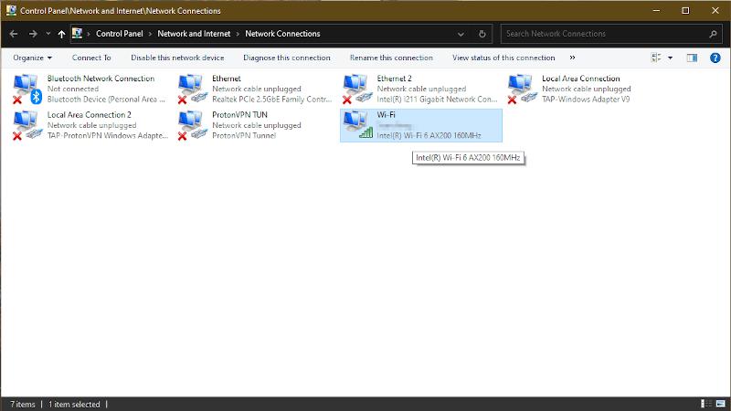 Windows adapter settings