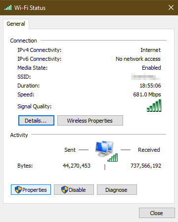 Windows selected adapter options