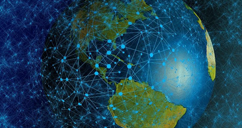 mesh network represented over globe