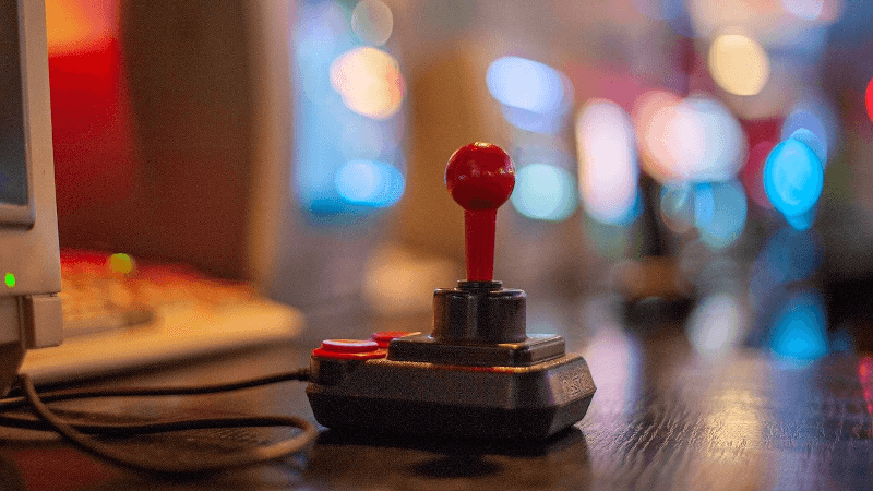 a joystick on a table