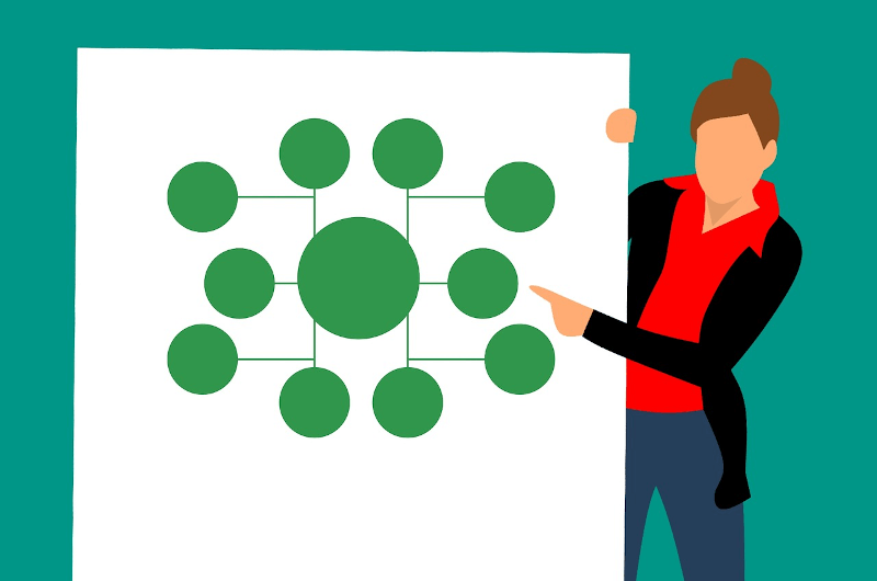 illustration of salesperson showing tree data