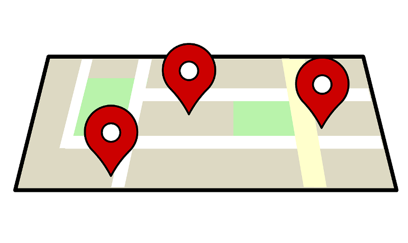 illustration of map with pins