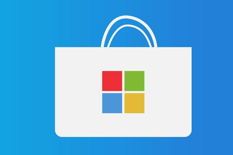 Windows Store icon on blue background