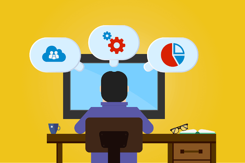 illustration of developer with thought bubbles