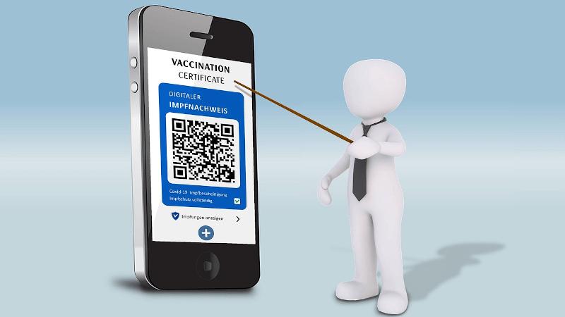 vaccine passport app with QR code