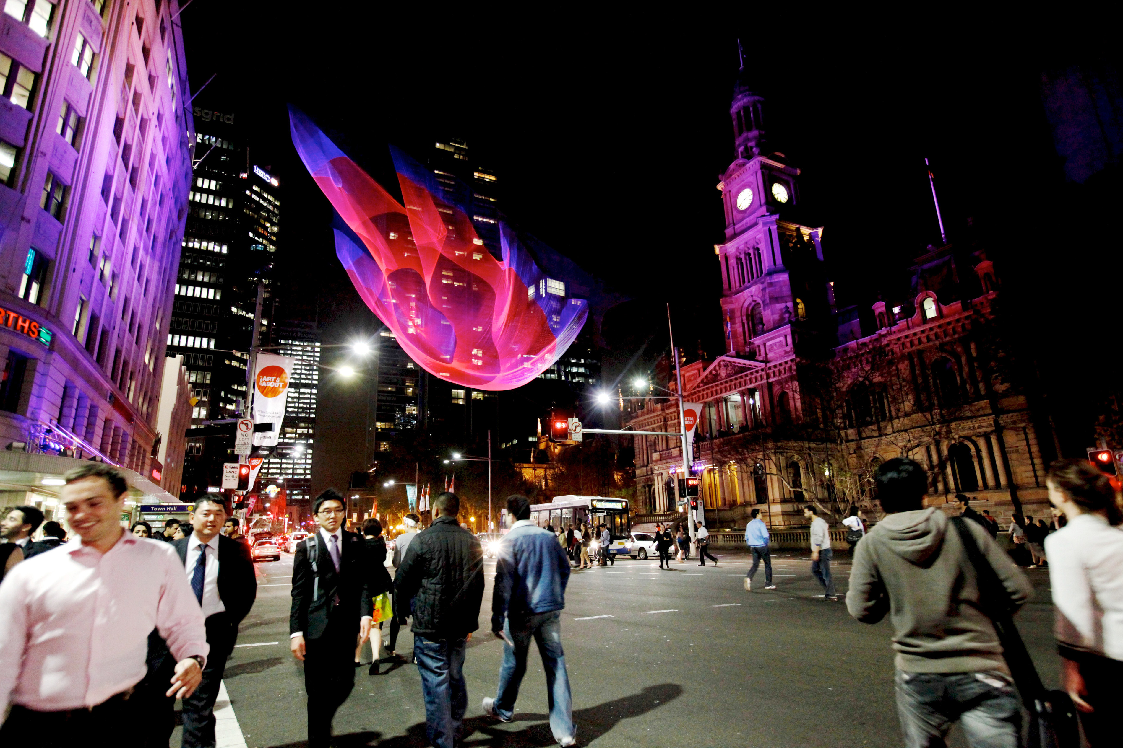 Janet Echelman, Tsunami 1.26. Image: Sharon Hickey, City of Sydney