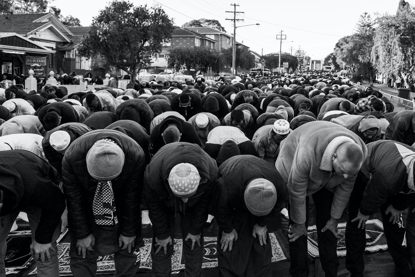 Peter Morgan, 'Eid prayers on Wangee Road, Lakemba', Lakemba, NSW.
