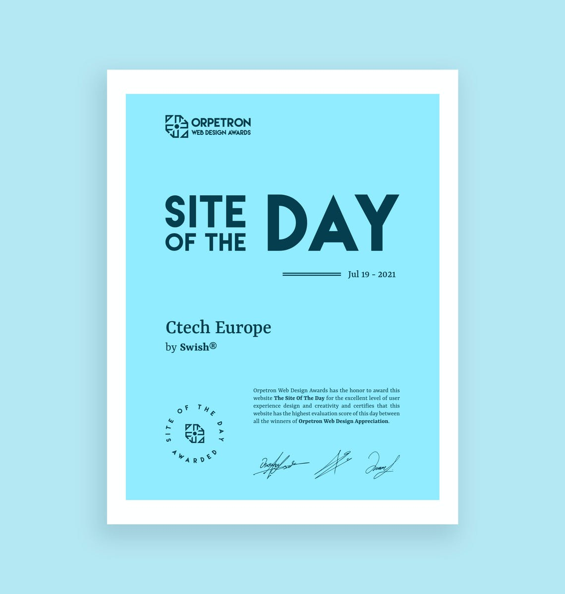 Site of the day certificate ctech