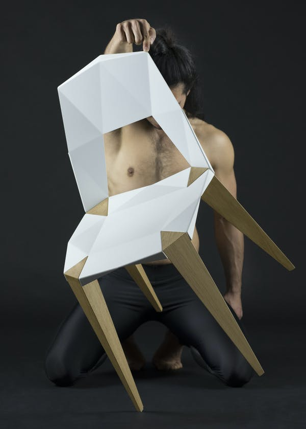Pythagoras Chair by Sander Mulder for Kubikoff. Kubikoff Chair Pythagoras. 4 Legged Chair. Origami Chair. Japanese Chair.