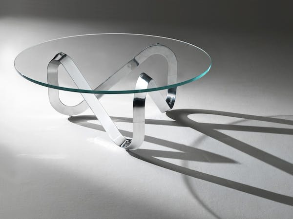Kubikoff Coffee Table Libra, Wooden Base, Aluminum polished to mirror base, Transparent Glass Top Table