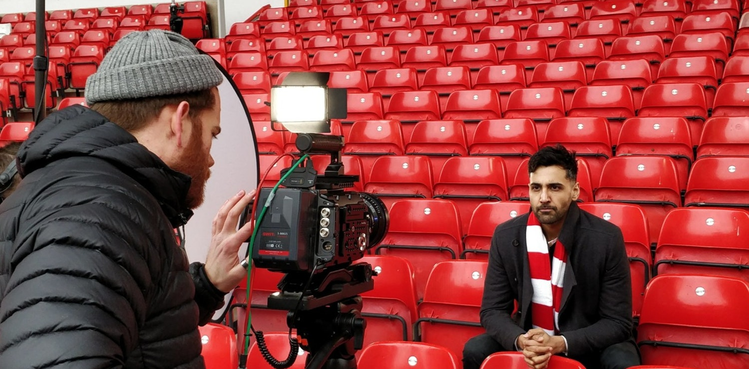 Guy Jenkins filming Arsher Ali at the City Ground for Nottingham Forest
