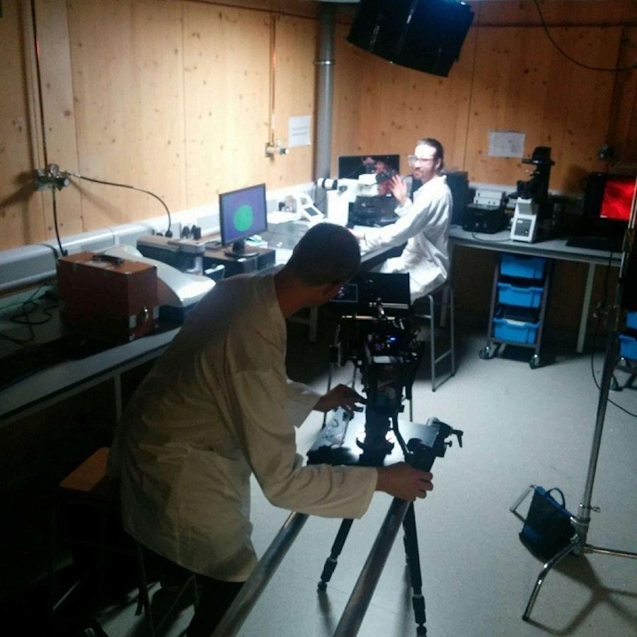 David Stewart filming at University of Nottigham
