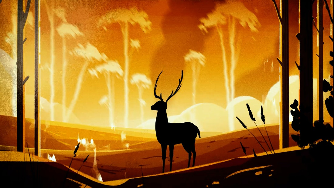 Still frame from climate change animation