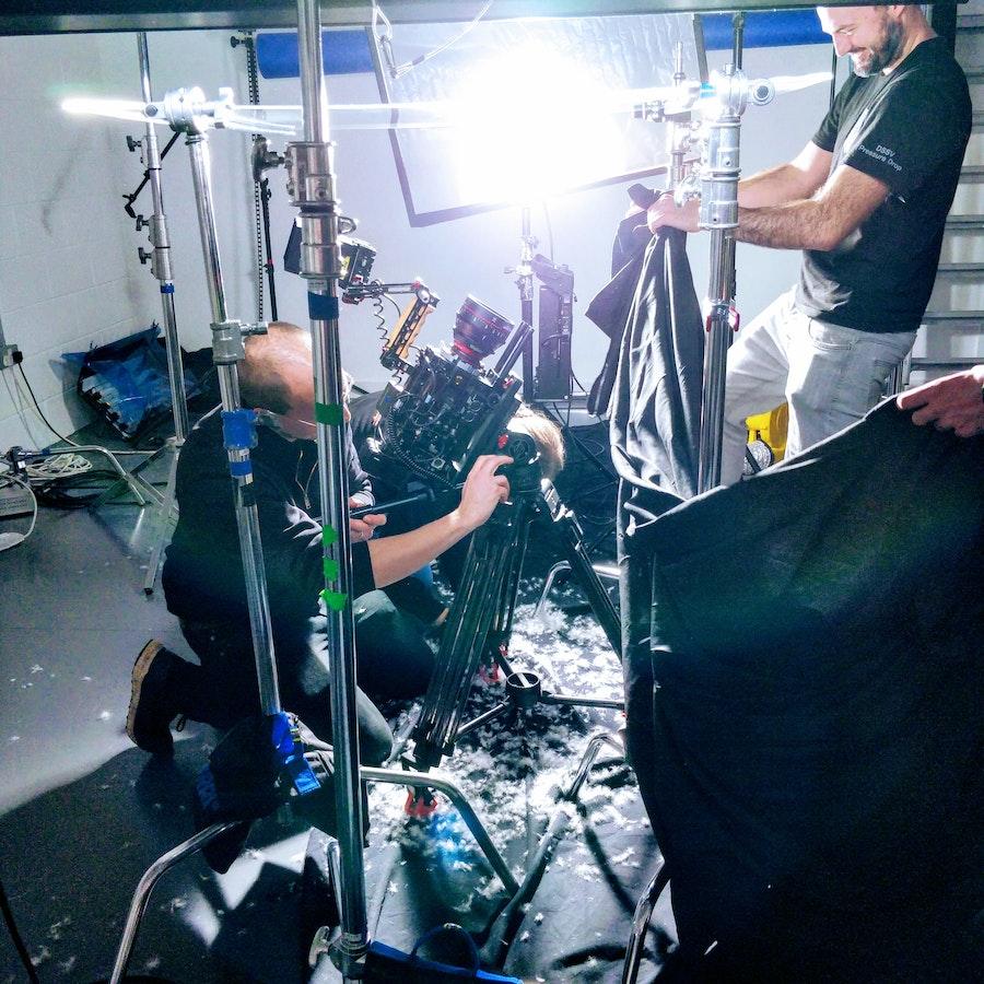 David Stewart and Matt Hodgen on set for Rab Mythic Ultra Shoot