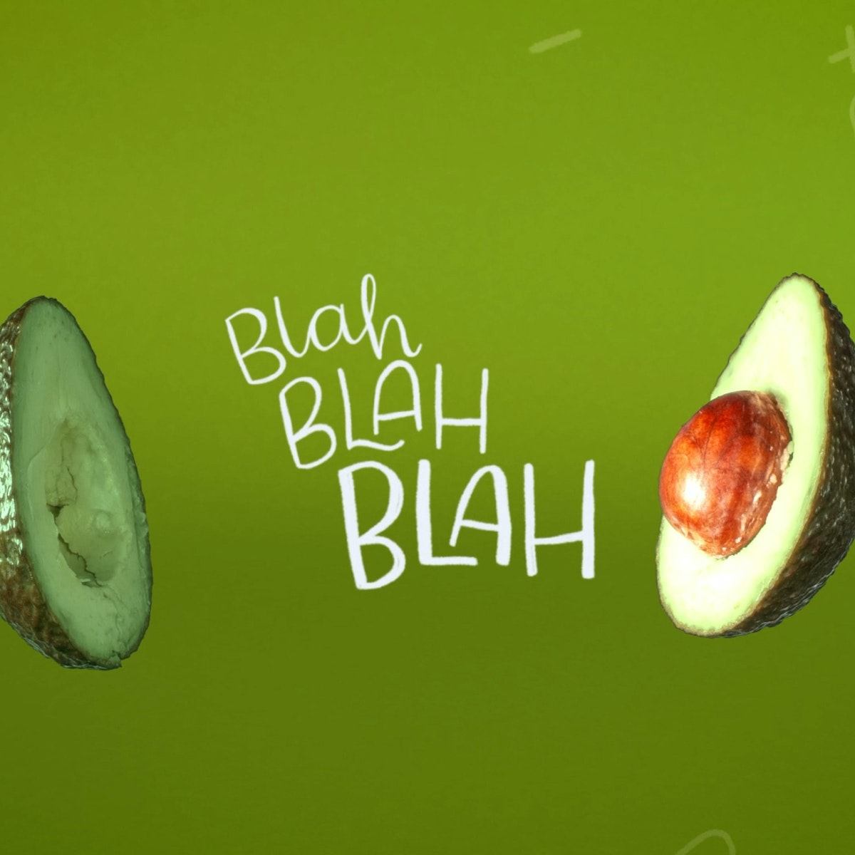 "Medichecks Brand Campaign Still 01 - Avocado with on screen type ""Blah blah blah"""